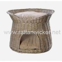 China Wash willow wicker two tier dog cat pets beds baskets, stylish rattan pet baskets, PH6017-RODO on sale