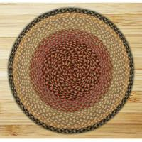 China Braided Rugs Round Circle Burgundy Gray and Creme Jute Braided Earth Rug on sale