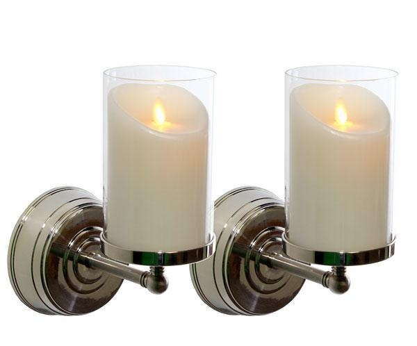 Wall Sconce With Led Timer Candle : Luminara Nickel Wall Sconce with 5 Luminara Flameless Wax Candle - Set of 2 of item 42588132