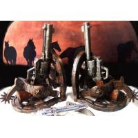 High Quality Stone Resin Cowboy Holster Pistol Bookends Set