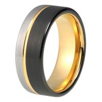 Wholesale Factory Custom Gold and Black Tungsten Carbide Ring for Men Women from china suppliers