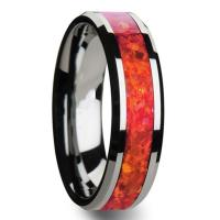 China Red Opal Tungsten Carbide Rings for Men Women Wedding Bands on sale