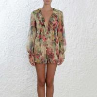 Wholesale Beach Style Women Romper V-neck Sleeve Long Flower Print Chiffon Casual Jumpsuit from china suppliers