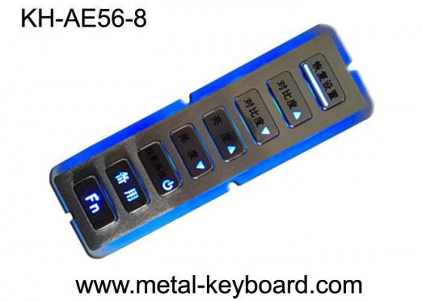 China 8 Keys Vandal Resistant Backlit Rugged Keypad In Customization Design