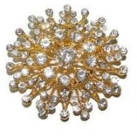 Golden Flower with Diamonds, Upholstery Button 60mm [50 PCS]