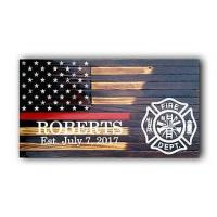 Personalized Red Line Fireman Flag