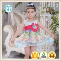 China new customized Girl Dress 2-16 Years Baby Girls Pattens Summer Style Floral Print Cotton on sale