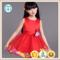 Hot selling europe boutique children flower girl dress of 9 years old multi colors