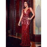 China SEXY RED LONG SEQUINED PARTY DRESS FOR WOMEN on sale