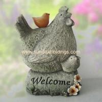 "Wholesale Garden Series YT11103- 15.5""Garden Stone Like Resin Hen with Chicken Sculpture from china suppliers"